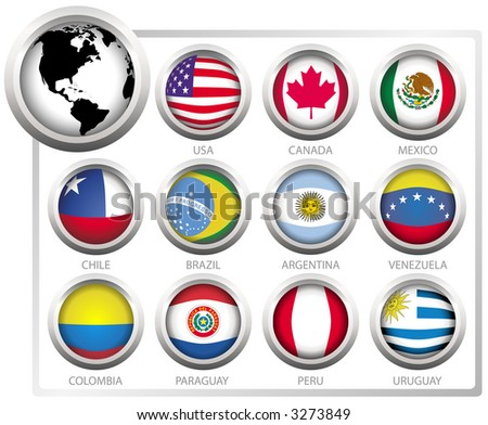 Vector flags of states from continent of America