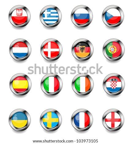 Vector flags on football - stock vector