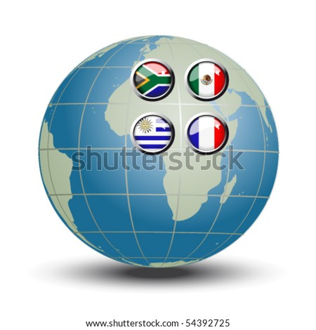 Vector flags on the blue globe - set 1