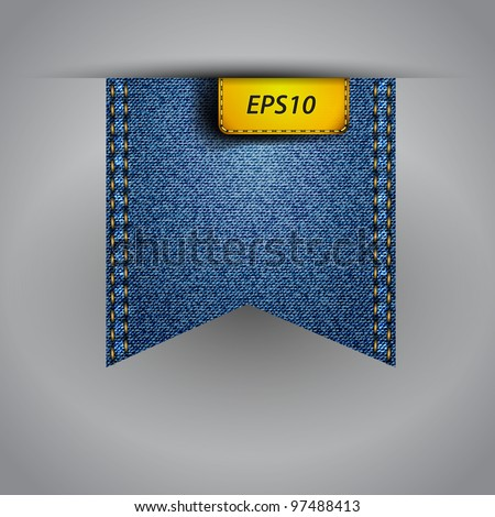 Vector flap jean blue fabric