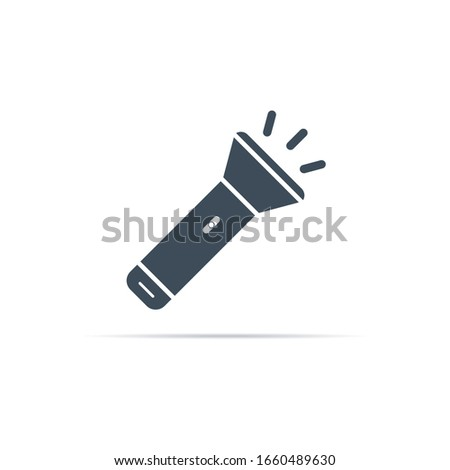 vector flashlight icon with on light on a white background Foto stock ©
