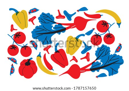 Vector flat abstract style vegetables set. Beet, pepper, tomatoes, greens, peas, mushrooms, ingredients for cooking shape.