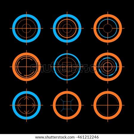 vector flat aim icons set