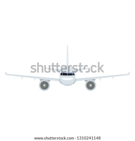 Vector Flat Airplane with Chassis Illustration. Front View Civil Plane