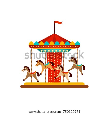 vector flat amusement park concept. Merry go round, Funfair carnival vintage flying horse carousel colored icon. Isolated illustration on a white background.