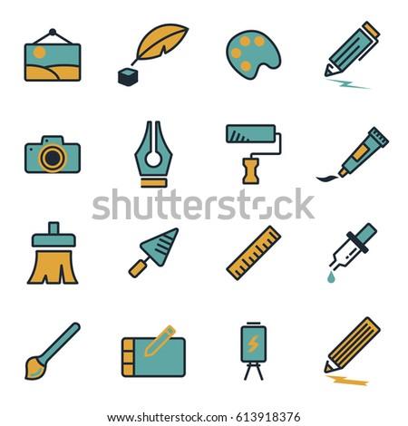 Vector flat art icons set on white background