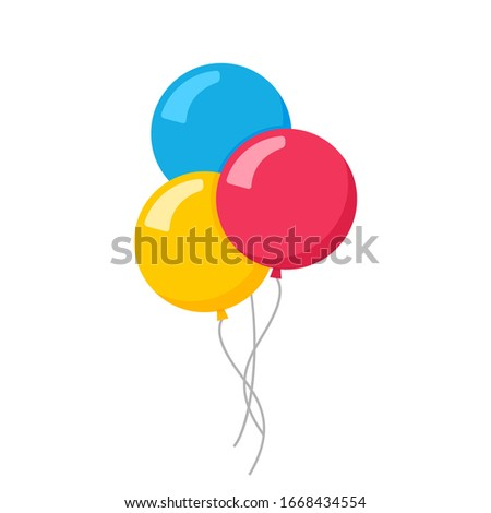 Vector flat balloon birthday icon illustration party design. Balloon cartoon bunch background.