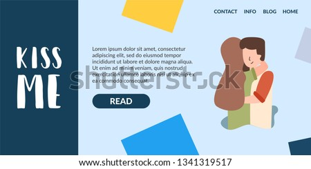 Vector Flat Banner Kiss Me. The problem of the relationship of romantic feelings of love teenagers. Support lonely people of unrequited love of a broken heart for lost relationships in adultery.