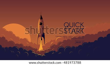 vector flat banner with rocket