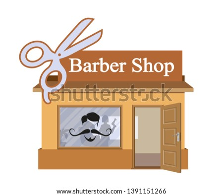 Vector flat barbershop. Facade of barbershop isolated on white background. Barber house. Cuts hair building. Barbershop emblem. Vector graphics to design