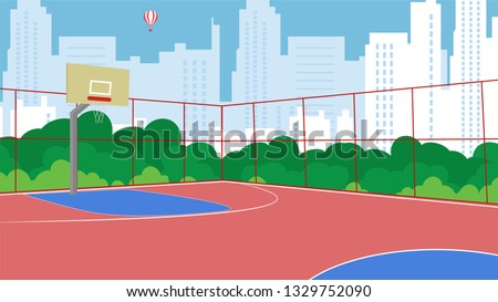 Vector Flat Basketball Court New Fenced in Park. Trees Urban Playground for Children. Workouts Active Sports GameBasketball Against Background CityHealthy Lifestyle Help Proud Authorities.