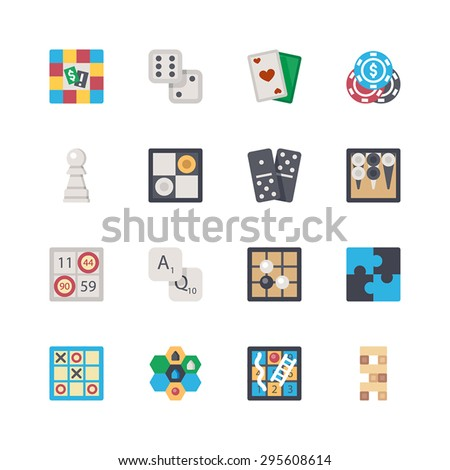 Vector flat board games set. Board game, dice, cards, poker, chess, checkers, dominoes, backgammon, bingo, letters, Go game, puzzle, tic-tac-toe, strategy, snakes and ladders, tower.