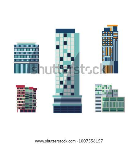 vector flat building