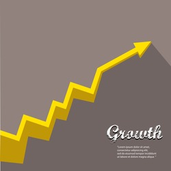 vector flat Business graph and chart on grey background.vector golden grow up arrow.
