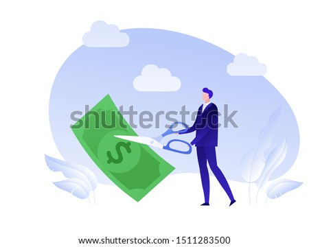 Vector flat business tax cut person illustration. Man with scissors cut dollar banknote isolated on white. Concept of tax reduce. Design element for banner, poster, web Stockfoto ©