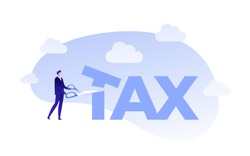 Vector flat business tax cut person illustration. Man with scissors cut tax text isolated on white. Concept of lower tax. Design element for banner, poster, web