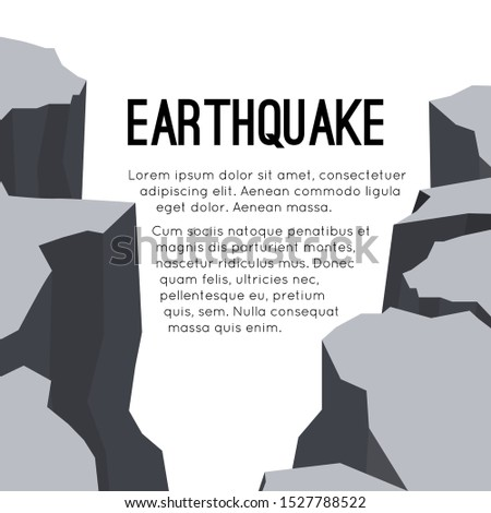 Vector flat card with earthquake and space for text. Splits and cracks. Faults in the ground. Natural disaster. Modern cataclysm. Ravine and rocks. Template for article, slide and your design.