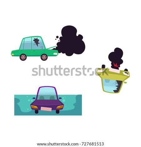 vector flat cartoon broken car