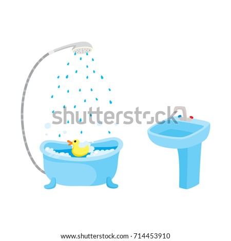 vector flat cartoon ceramic washbasin or sink with metal mixer faucet, bathtube with shower set. Isolated illustration on a white background. Daily routine activities and objects concept