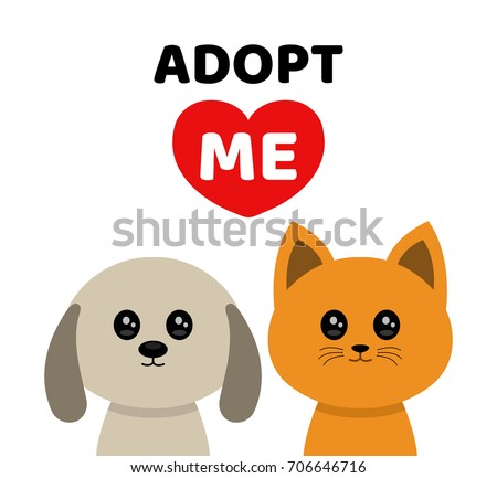 Vector flat cartoon illustration icon design. Adopt me. Don't buy. Dog Cat Pet adoption. Puppy pooch kitty cat looking up to red heart. Help homeless animal concept. Isolated on white background