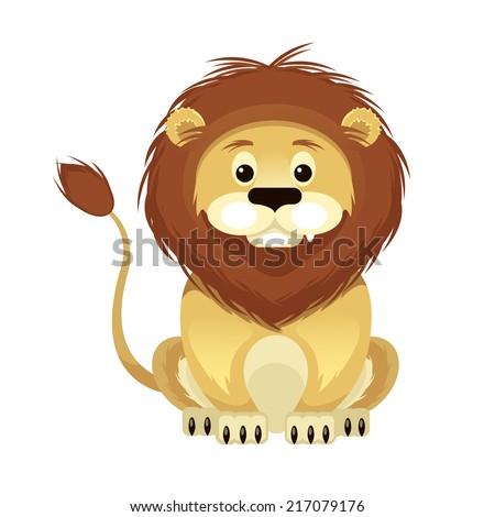 vector flat cartoon lion