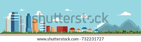 vector flat cartoon panorama