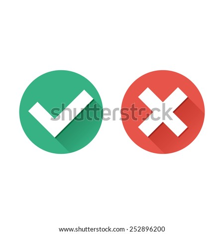 Vector flat check mark icons with long shadow for web and mobile apps. Red and green colors.