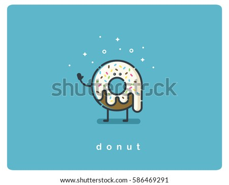 Vector flat chocolate donut cartoon character, food icon