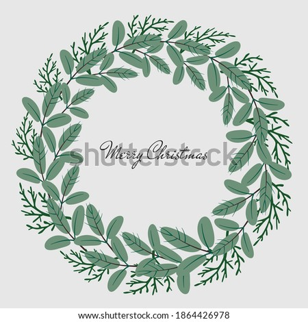 Vector flat chrismas wreath of pine and thuja branches. Perfect frame for chrismas desines.