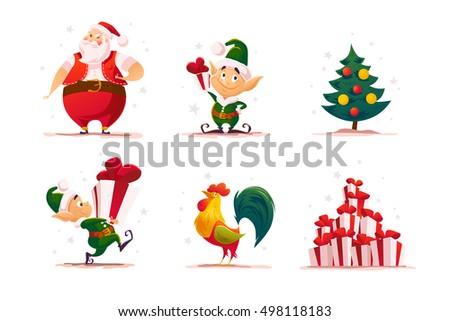 vector flat christmas elf