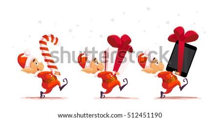 vector flat christmas santa