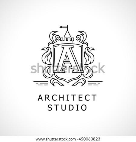 Vector flat city architect studio heraldry logo design isolated on white background. Architect bureau insignia icon. Building company, construction industry brand mark icon.