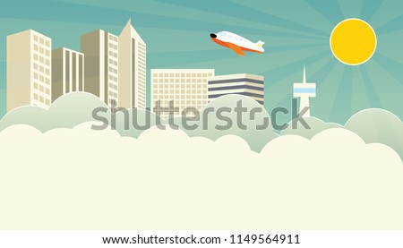 vector flat city skyline modern style illustration. vector big city