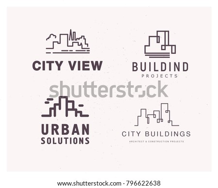 Vector flat construction company brand design templates collection. Building, business company and architect bureau insignia, logo illustration isolated on white background. Line art.
