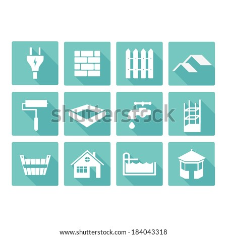vector flat construction icons