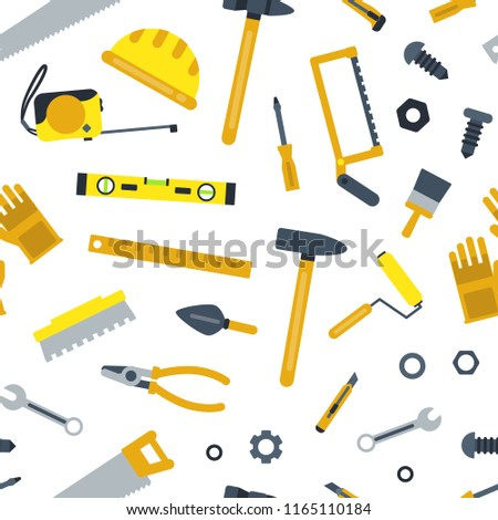 Vector flat construction tools pattern or background illustration. Hammer and screwdriver, wrench spanner, roller and cutter