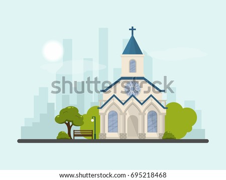 Vector flat contemporary church and park with cityscape and sky background,suburb church concept.