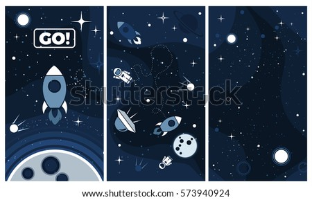 Vector flat cosmos background. Modern UI, GUI screen vector design for mobile app with UX and flat web icons. Cute template in space theme