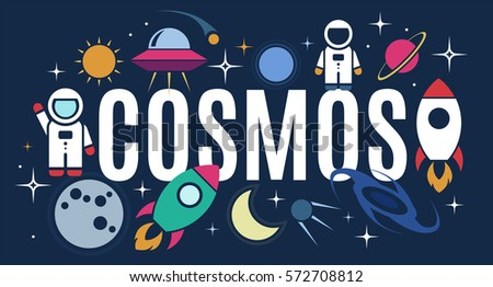 Vector flat cosmos design background with text. Cute template with Astronaut, Spaceship, Rocket, Moon, Black Hole, Stars in Outer space