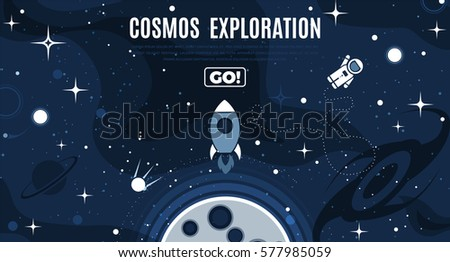 stock-vector-vector-flat-cosmos-design-background-with-text-cute-template-with-astronaut-spaceship-rocket