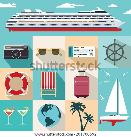 Vector flat cruise ship vacation.