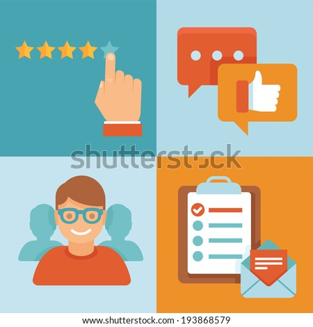 Vector flat customer service concept - icons and infographic design elements - client experience