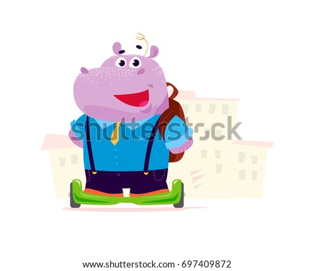 Vector flat cute hippo boy student character on balance wheels standing in front of school building isolated on white background. Hippo boy with bag smiling. Good for card, poster, packaging design.