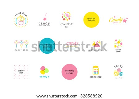 Vector flat cute logo collection for candy shop and sweet store. Candy bar brand mark design. Also good for children print template. Lollipop, cake, berry sign.