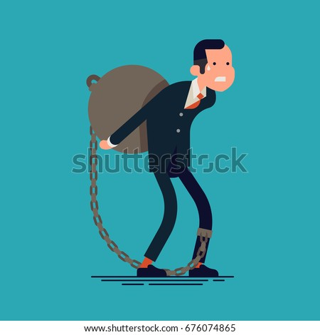 Vector flat design concept on businessman carrying weight. Debt metaphoric illustration with man character tied by chain to large weight on his back. Businessman struggles with mortgage