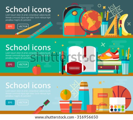 Vector flat design concepts of education. Horizontal banners with school items. Back to school concepts for web and promotional materials. Education school icons set.