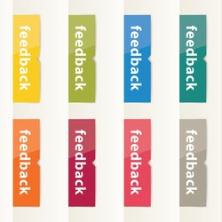 Vector flat design feedback buttons. Modern feedback buttons in eight different colors. Clean and clear flat design.