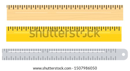 Vector flat design illustration of different materials wooden, metal, plastic ruler instruments icon set isolated on a white background. Color school measuring rulers in centimeters scale.