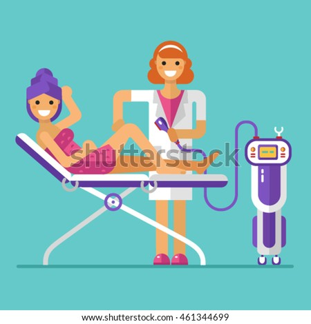 Vector flat design illustration of epilation or depilation procedure. Cosmetologist or beautician depilating legs of beautiful girl in towels. Process of Laser, electro or Photo epilator hair removal