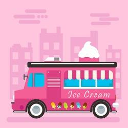 Vector flat design illustration on simplified ice cream truck